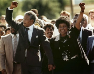 Nelson Mandela and his wife Winnie, walking hand in hand. 11 February 1990